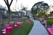 Pink benches in downtown Los Angeles