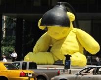 Giant Teddy Bear sculpture (Lamp Bear) by Swiss artist Urs Fischer, on Park Av. in NYC.
