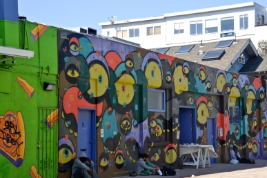 One of the many colorful buildings in Venice Beach, California.
