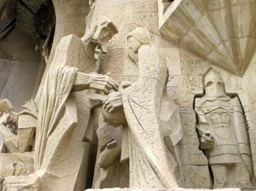 Detail of sculptures at La Sagrada Familia, Barcelona.