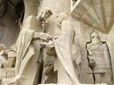 Detail of sculptures at La Sagrada Familia, Barcelona.