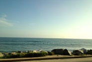 Horizon meets Pacific ocean. Malibu beach, LA, CA.