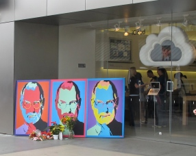 A memorial for Steve Jobs outside the Apple store in Santa Monica, following his death.
