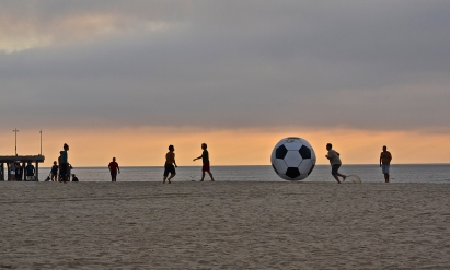 Happy guys, huge soccer ball. Venice Beach, CA.