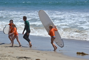 Young surfers at summer camp. Santa Monica,CA.