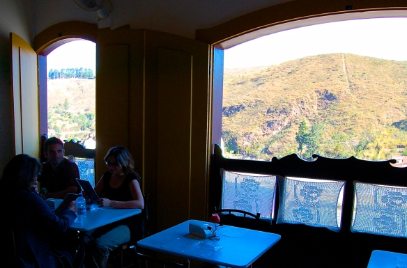 Window at cafe, with view of the mountains. Ouro Preto, Brazil.