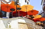 Orange umbrellas. Rodeo Drive restaurant. Beverly Hills, CA.
