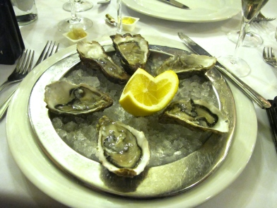 Delicious oysters in Brussels.