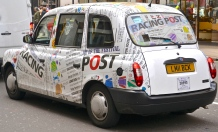 London cab, full of words and letters.