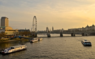 View from the Waterloo Bridge, London.
