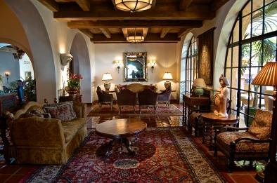 One of the beautiful lounging areas at the Biltmore Four Seasons Resort in Santa Barbara, California.