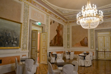 Small gathering room at the Fenice Opera House in Venice, Italy.