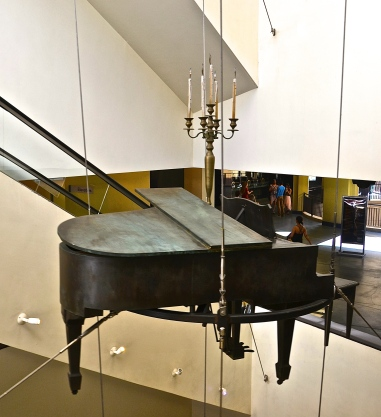 Suspended piano and candelabra. Hollywood, CA.