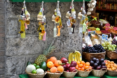 Fruits and souvenirs, Siena, Italy.