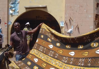 Bogolan textiles, Bamako, Mali.