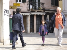 Walking home with Dad after school. She's got such a determined look... Venice, Italy.