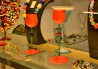 Orange wine glasses. Venice, Italy.