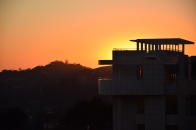 Orange sunset at the Getty Museum, Los Angeles, CA.