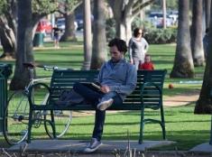 Reading in the park. Santa Monica, CA.