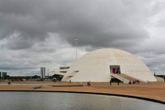 Brasilia enveloped by clouds.