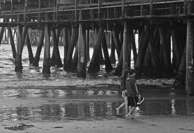 Going under the Pier. Sta. Monica Pier.