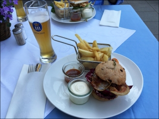 Special mini burger and beer in Munich, Germany.