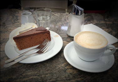 Cappuccino and Sacher Torte in Vienna, Austria.