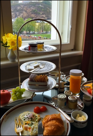 A great breakfast and a room with a view in Salzburg, Austria.