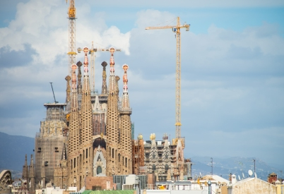 Current exterior of Sagrada Familia. When finished, in 2026, it will have 18 towers, each representing a person: 12 will represent the apostles, 4 will represent the evangelists, 1 will represent the Virgin Mary, and the tallest tower, at almost 600 feet, will represent Christ.