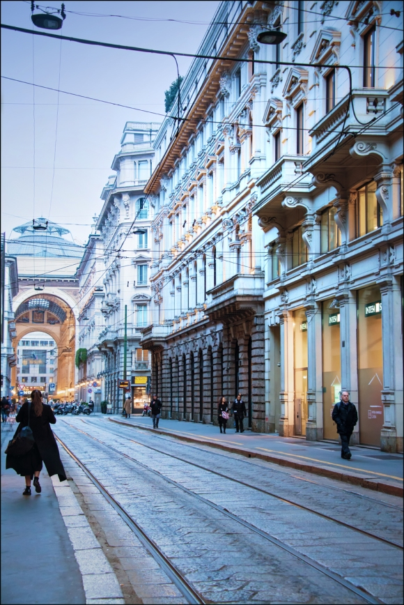 Central Milan. Galleria Vittorio Emanuele in the background.