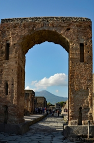 Pompeii. Mount Vesuvius in the background.